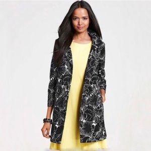 ANN TAYLOR Black & White Floral 3/4 Length Jacket